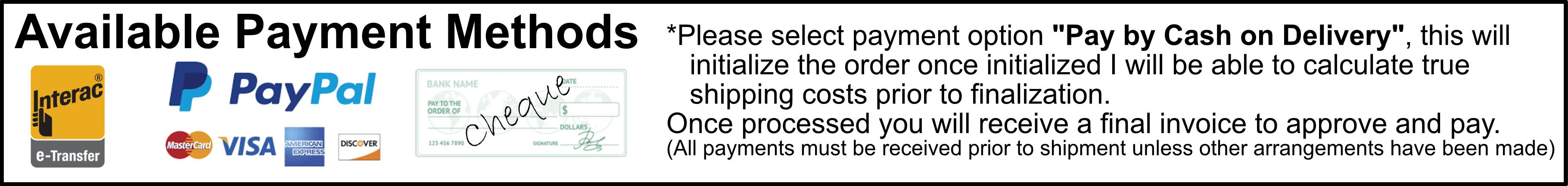 Payment Options: PayPal, e-Transfer, Cheque